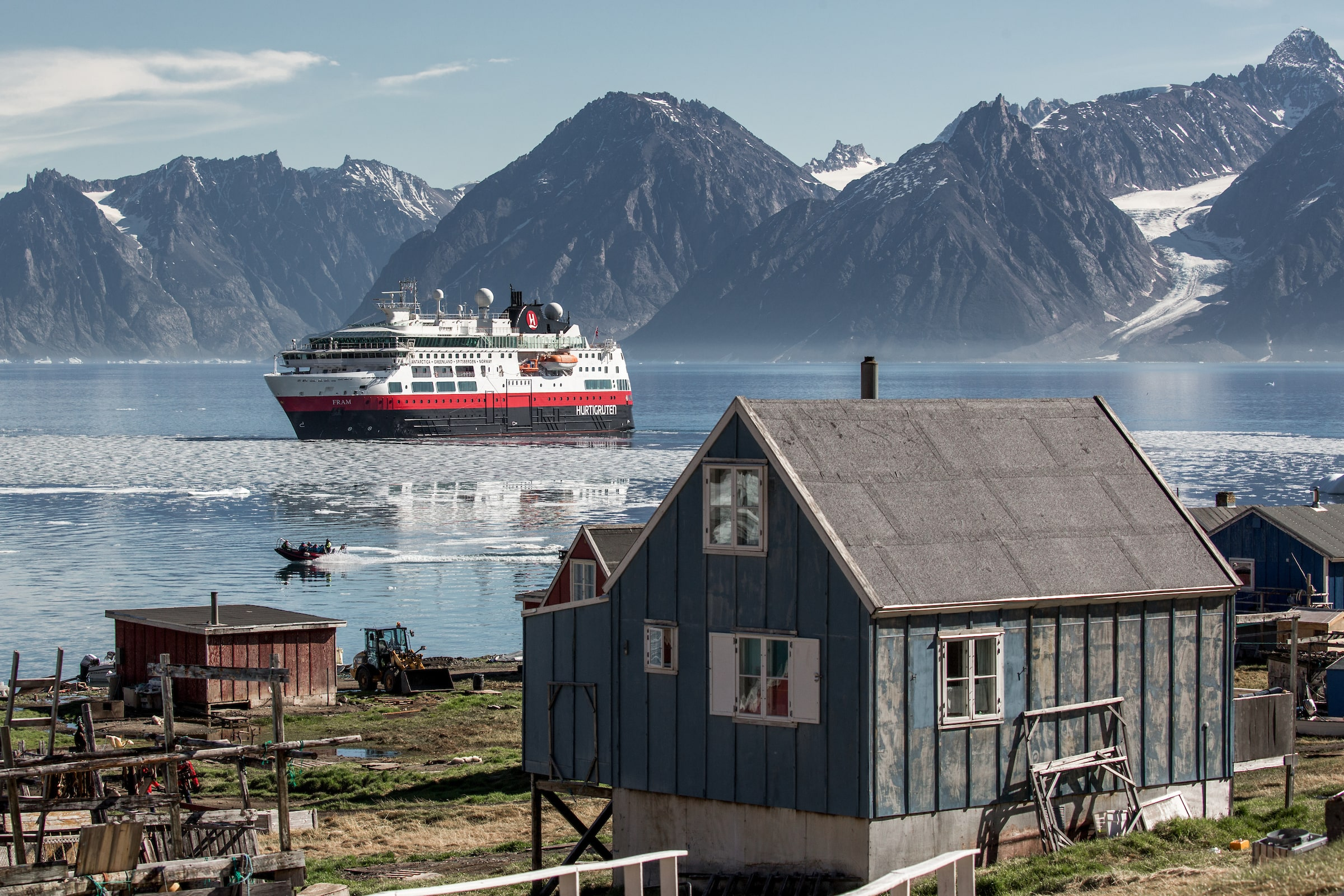 MS Fram in Illorsuit in Greenland. Photo by Mads Pihl - Visit Greenland