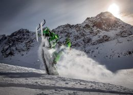 A snowmobiler doing a wheelie near SIsimiut in Greenland. Photo by Mads Pihl.