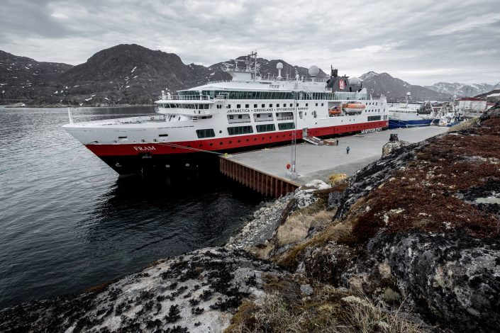 MS Fram from Hurtigruten docked alongside in Sisimiut, Greenland. Photo by Mads Pihl, Visit GreenlandGreenland Cruises - MS Fram from Hurtigruten docked alongside in Sisimiut, Greenland