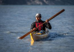 Greenland Outdoors owner and kayaking guide Jens-Pavia Brandt in his right element near Kangerlussuaq in Greenland. Photo by Mads Pihl