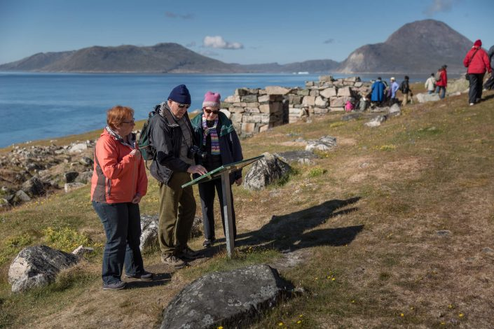 Guests at Hvalsey church ruin in South Greenland. Photo by Mads Pihl - Visit Greenland