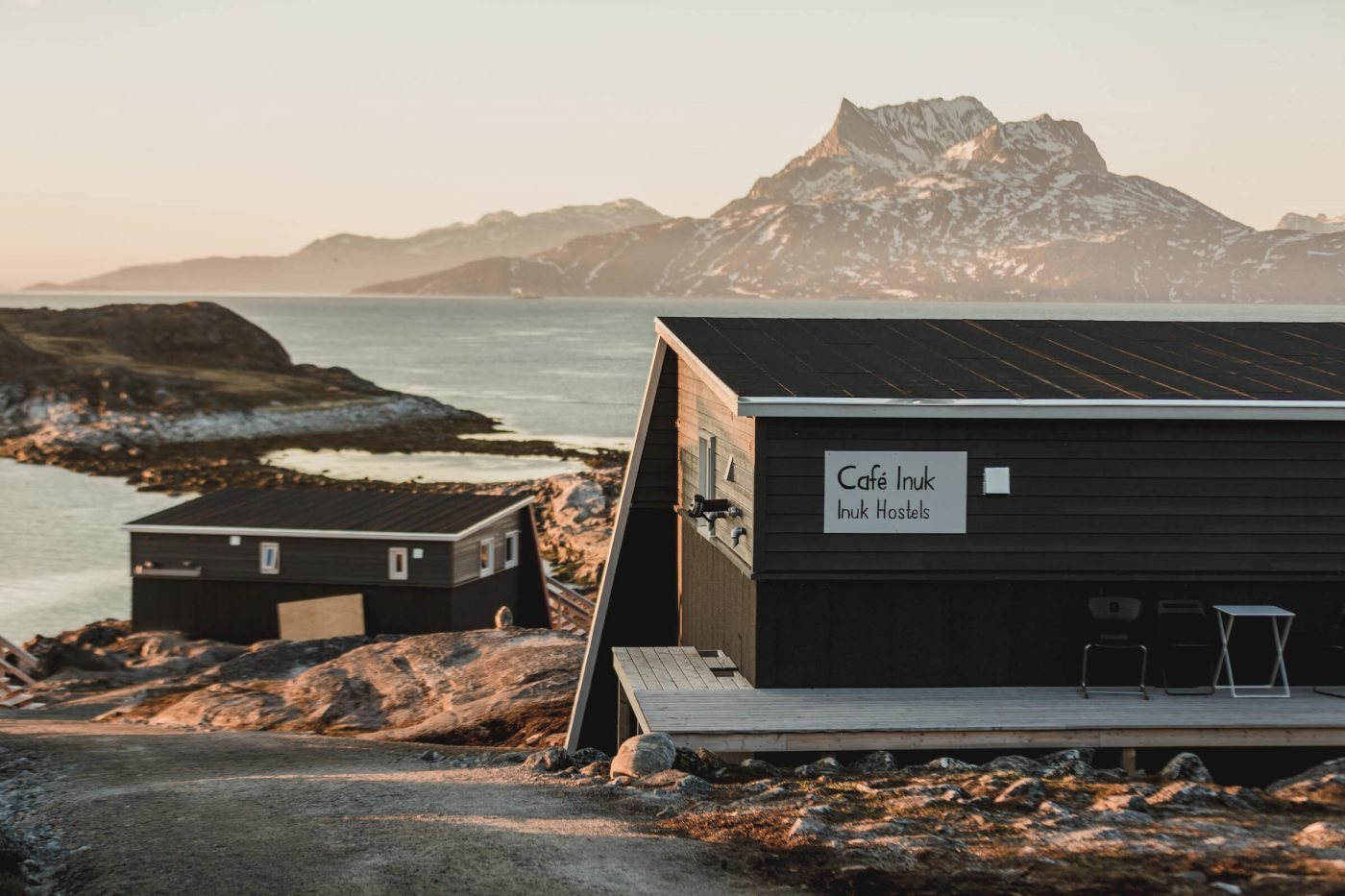 Inuk Hostels in Nuuk, with Sermitsiaq Mountain. Photo by Daniel Gurrola - Visit Greenland