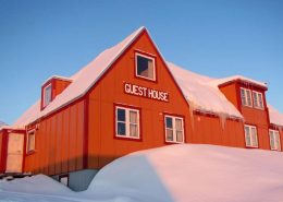 View of Ittoqqortoormiit Guesthouse in Winter in East Greenland. Photo by Ittoqqortoormiit Guesthouse