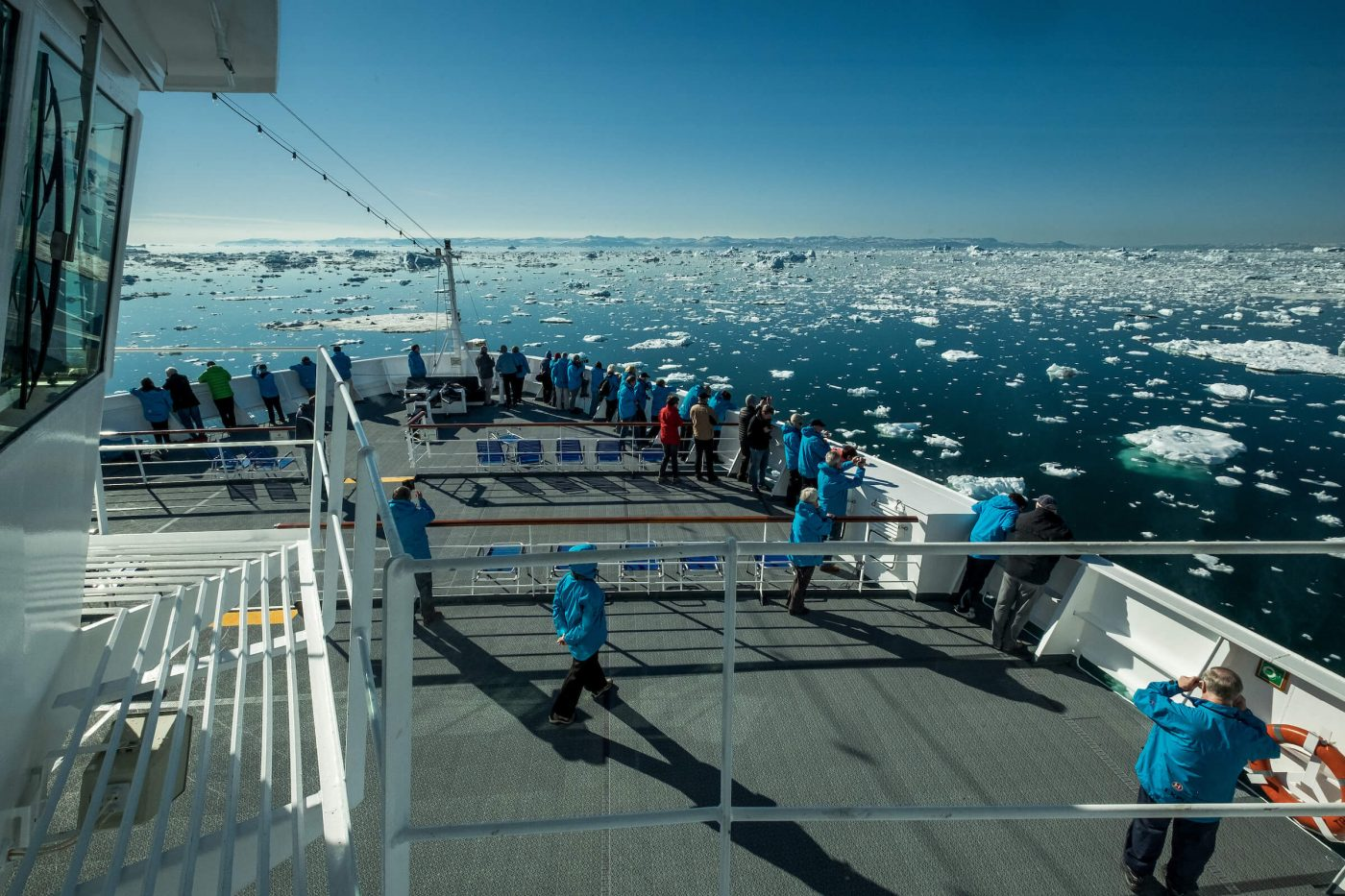 MS Fram from Hurtigruten going through a field of icebergs near Ilulissat in Greenland