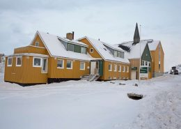Nuuk Art Museum covered in snow in Winter. Photo by Nuuk Art Museum