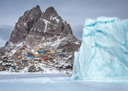 A winter view of the heart shaped mountain and the town of Uummannaq in North Greenland. Photo by Marcela Cardenas - Visit Greenland