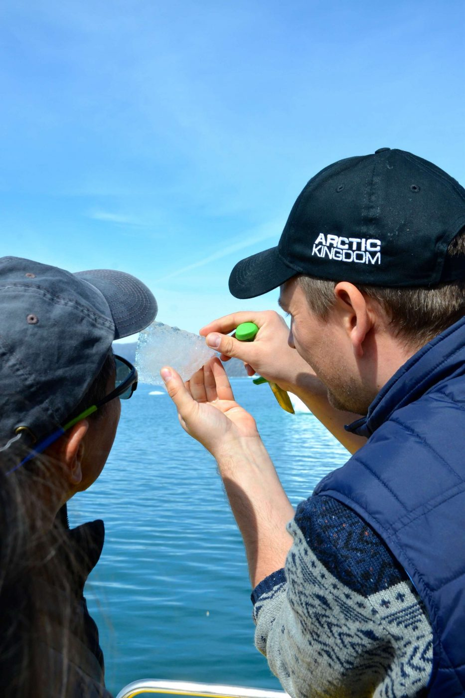 Owner showing a piece of the inland ice. Photo by Nuuk Water Taxi