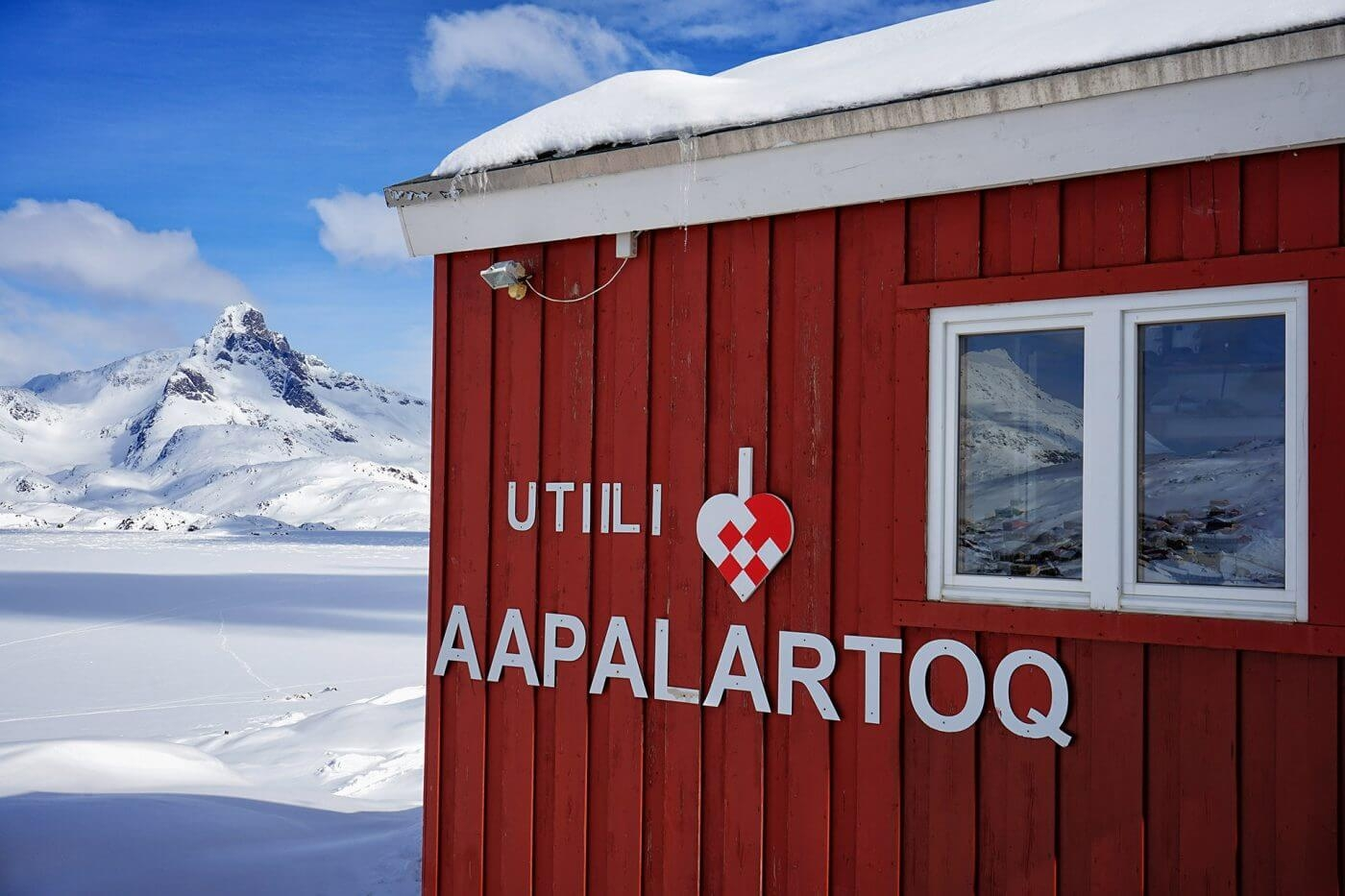 Sign outside The Red House, East Greenland. Photo by Ulrike Fischer, Visit Greenland