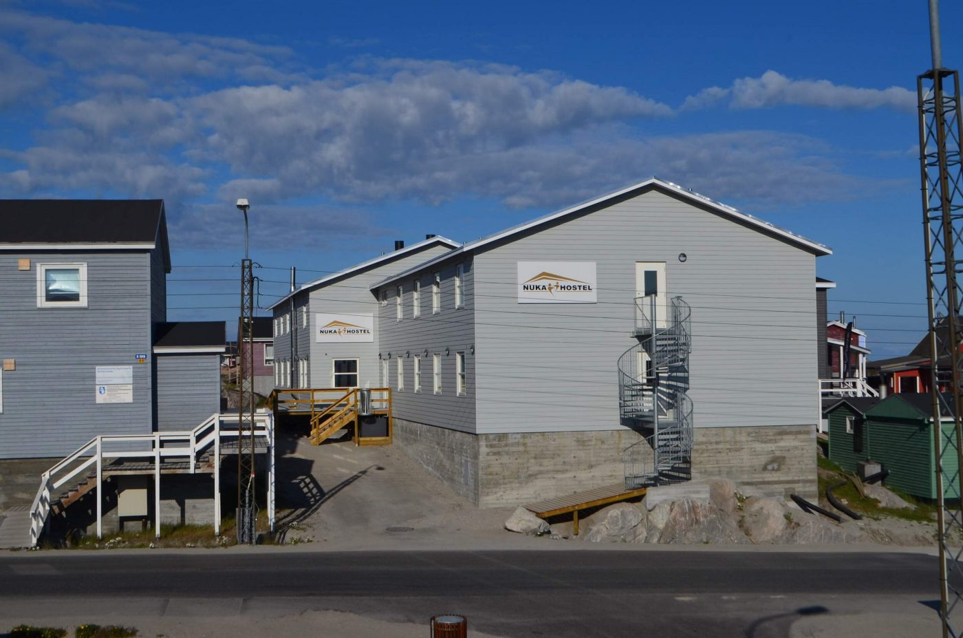 Frontside view of Nuka Hostel in Ilulissat, North Greenland. Photo by Nuka Hostel