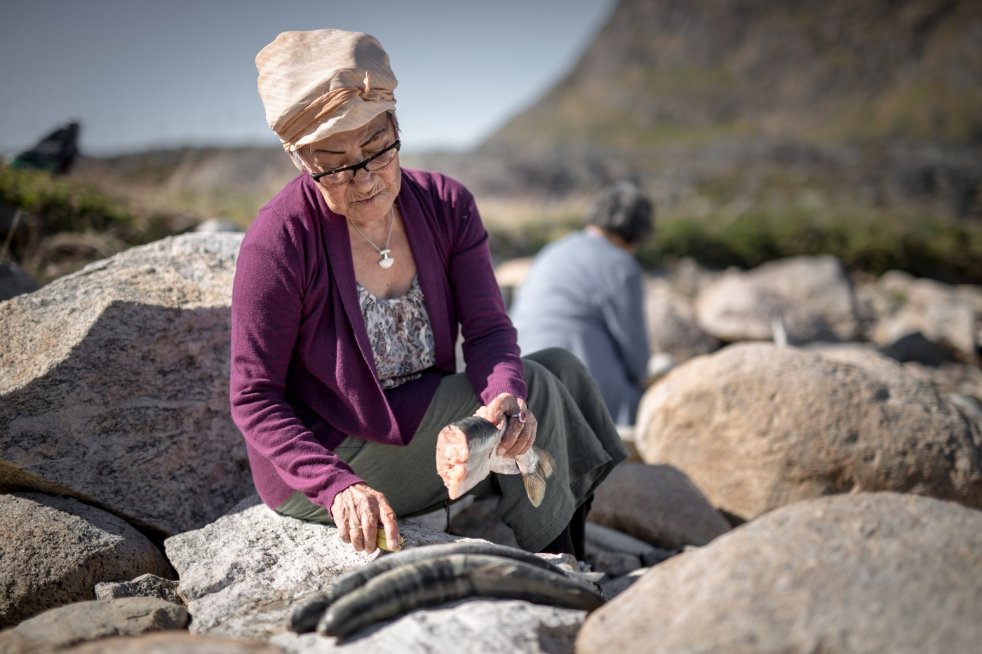 A woman preparing fish for a meal on the beach in Narsaq in South Greenland. Photo by Mads Pihl - Visit Greenland