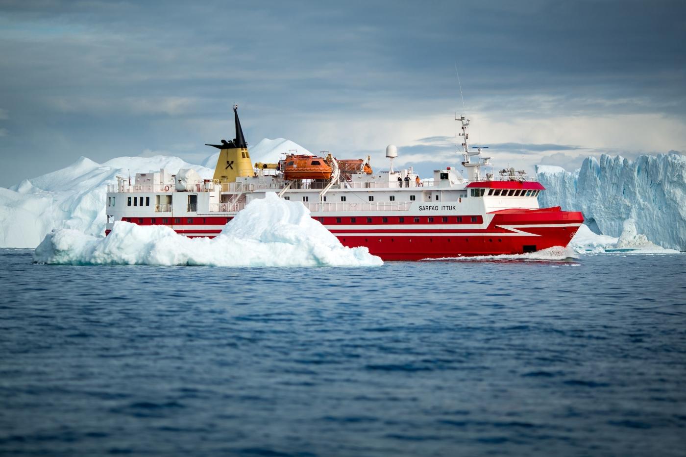 Sarfaq Ittuk, Greenland's passenger ferry, cruising along the edge of the Ilulissat ice fjord. By Mads Pihl