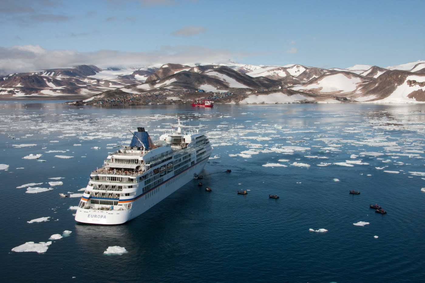The cruise ship Europa anchored outside Ittoqqortoormiit in East Greenland. By Frank Petersen