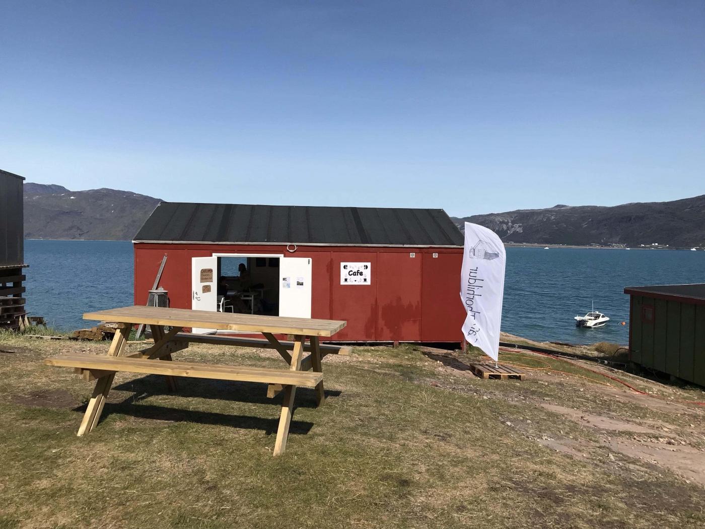Cafe Thorhildur front with landscape in background