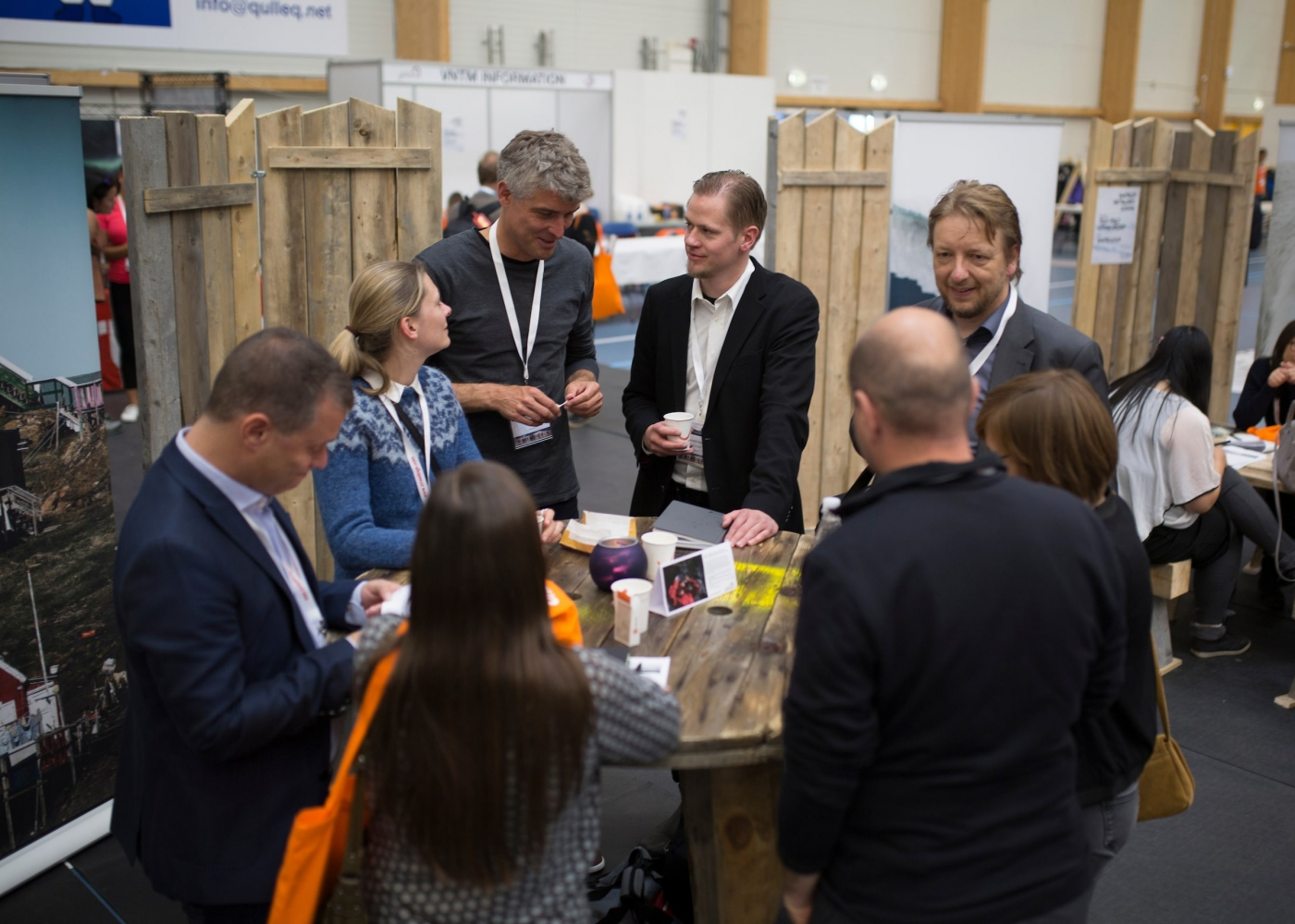 Event participants casually networking over coffee. Photo by Aningaaq Rosing Carlsen – Visit Greenland