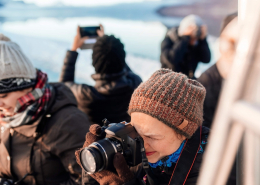 Tourists taking photos, Nuuk Icefjord. Photo by Rebecca Gustafsson - Visit Greenland