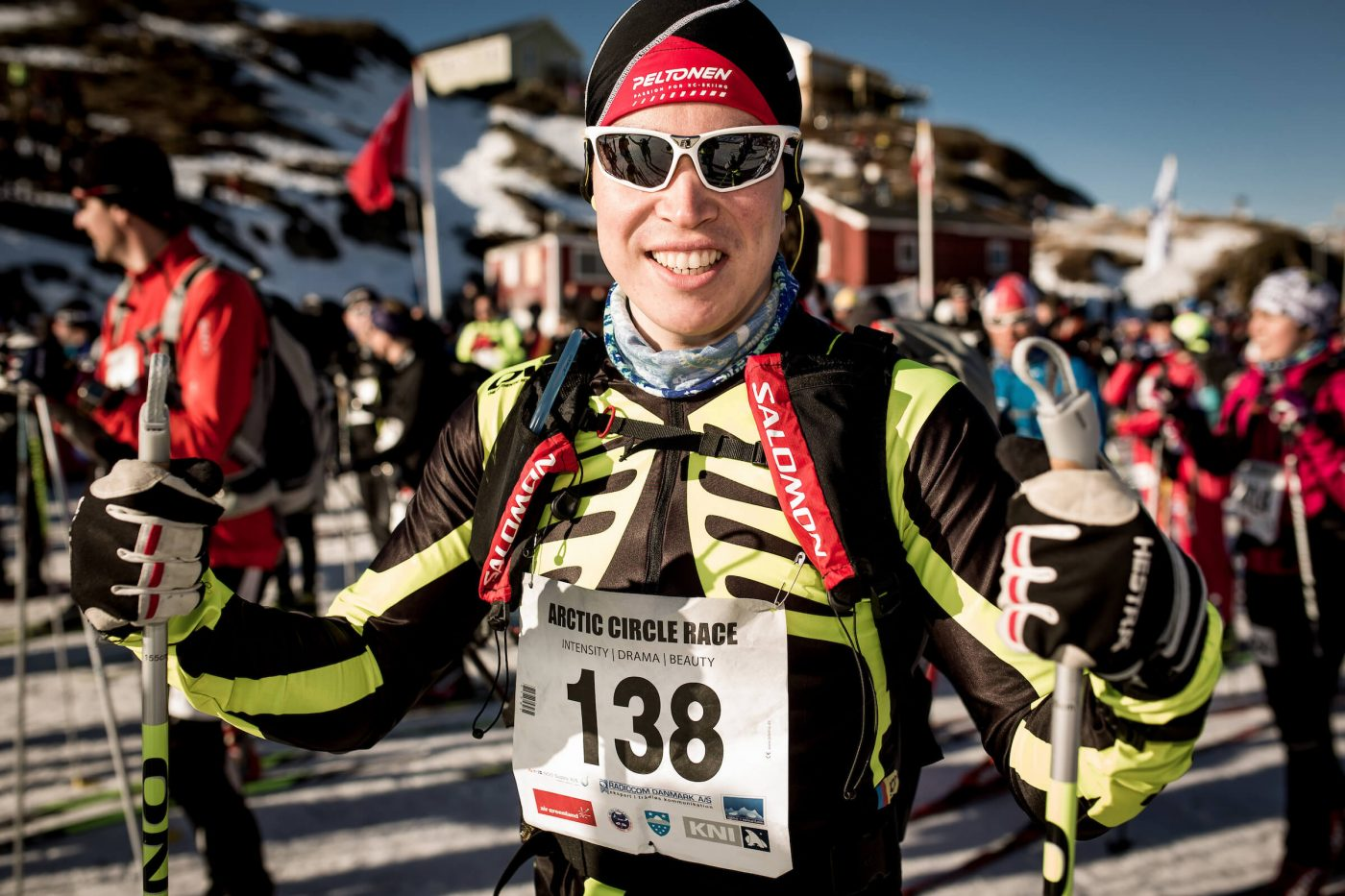 Arctic Circle Race skier preparing for the race on day 1. Photo by Mads Pihl, Visit Greenland