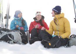 Cross country skiers on a coffee break in East Greenland