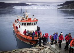 Passengers disembarking at Eqi Glacier Lodge in Greenland. Photo by Mads Pihl, Visit GreenlandPassengers disembarking at Eqi Glacier Lodge in Greenland. Photo by Mads Pihl, Visit Greenland