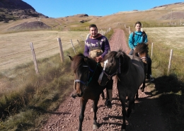 Two men and three Icelandic horses close to Inneruulalik Guest Farm in South Greenland. Photo by Inneruulalik Guest House