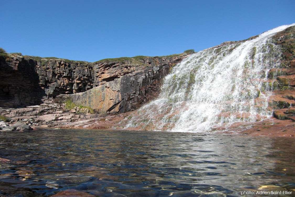 Beautiful waterfall to the river Ilua, close to Ipiutaq guest farm. Photo by Adrien Saint-Ellier