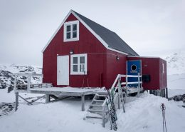 Front view of Kulusuk Hostel in Winter. Photo by Icelandic Mountain Guides