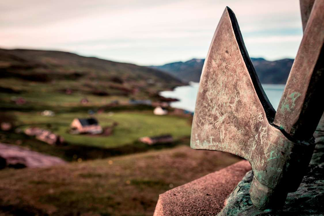 The axe of Leif Eriksson - the statue overlooking Qassiarsuk in South Greenland. Photo by Mads Pihl - Visit Greenland