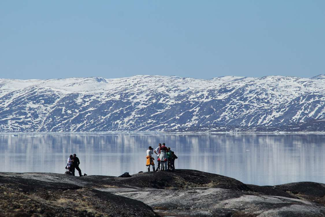 Tourists enjoying the view in North Greenland. Photo by North Greenland Adventure