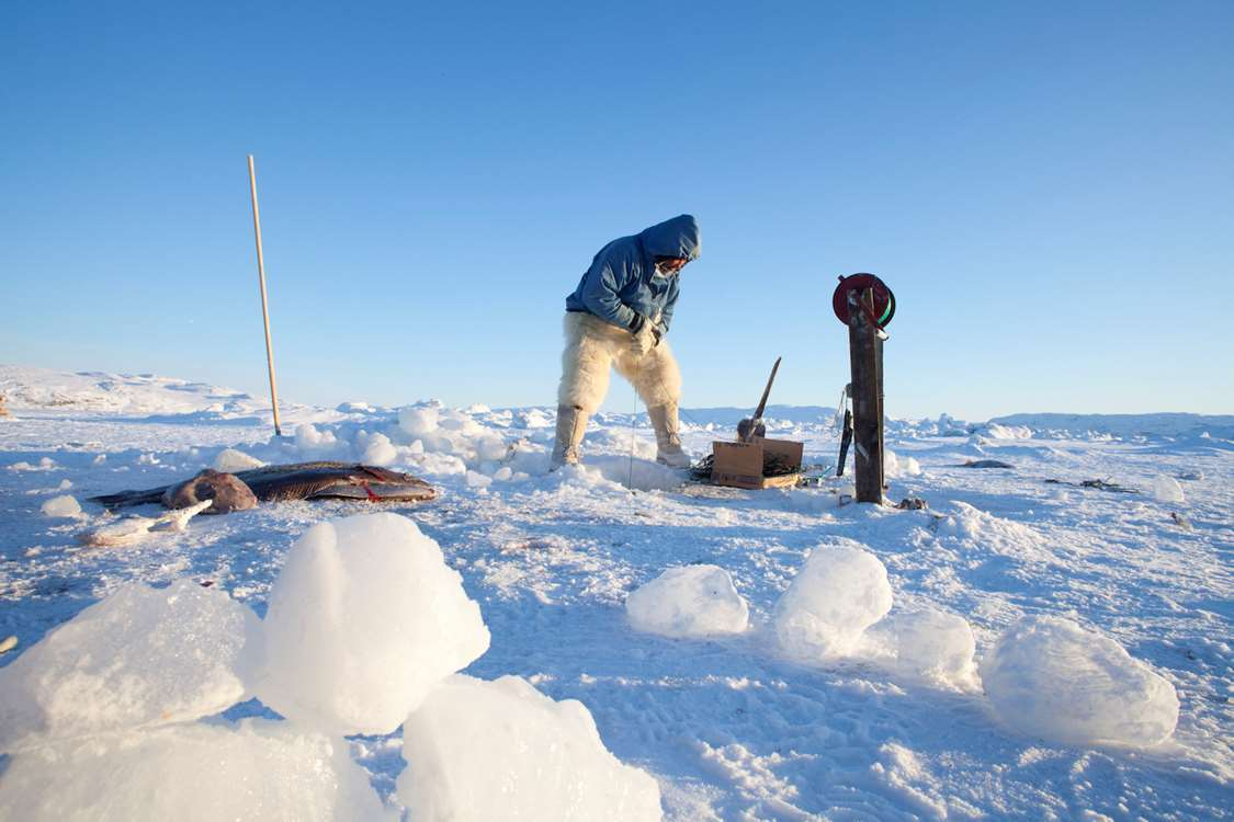 A fisherman from Ilulissat in Greenland at his workplace on the sea ice fishing for halibut. Photo by David Trood - Visit Greenland