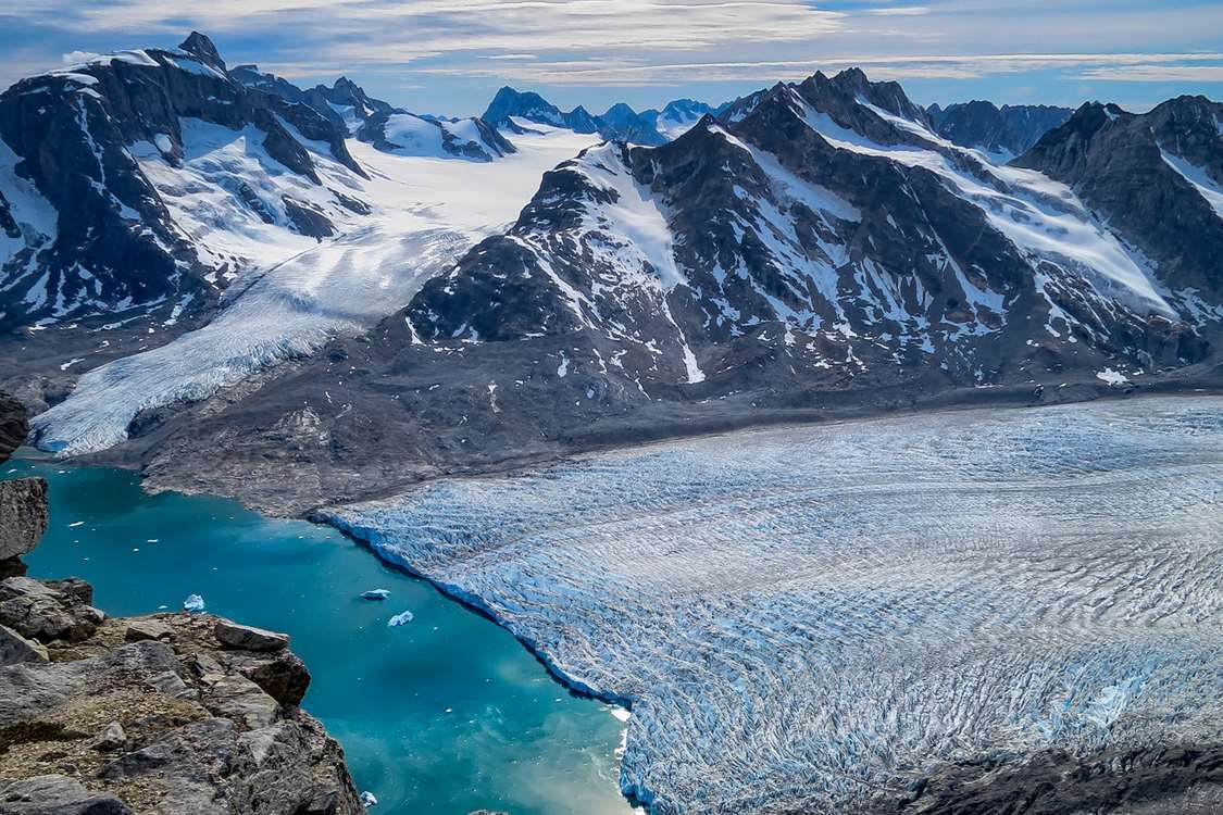 Bird's eye view of Knud Rasmussen glacier in East Greenland. Photo by Pirhuk - Greenland Expedition Specialists