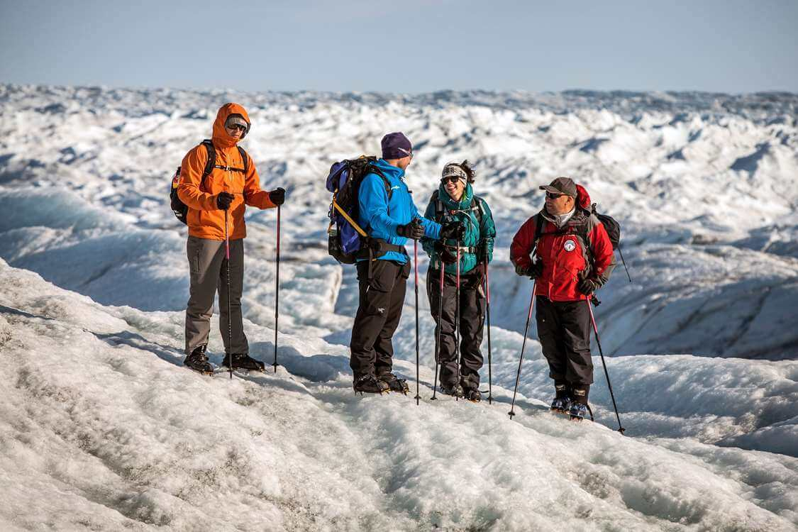 A group glacier walking on the Greenland Ice Sheet near Kangerlussuaq. Photo by Mads Pihl - Visit Greenland