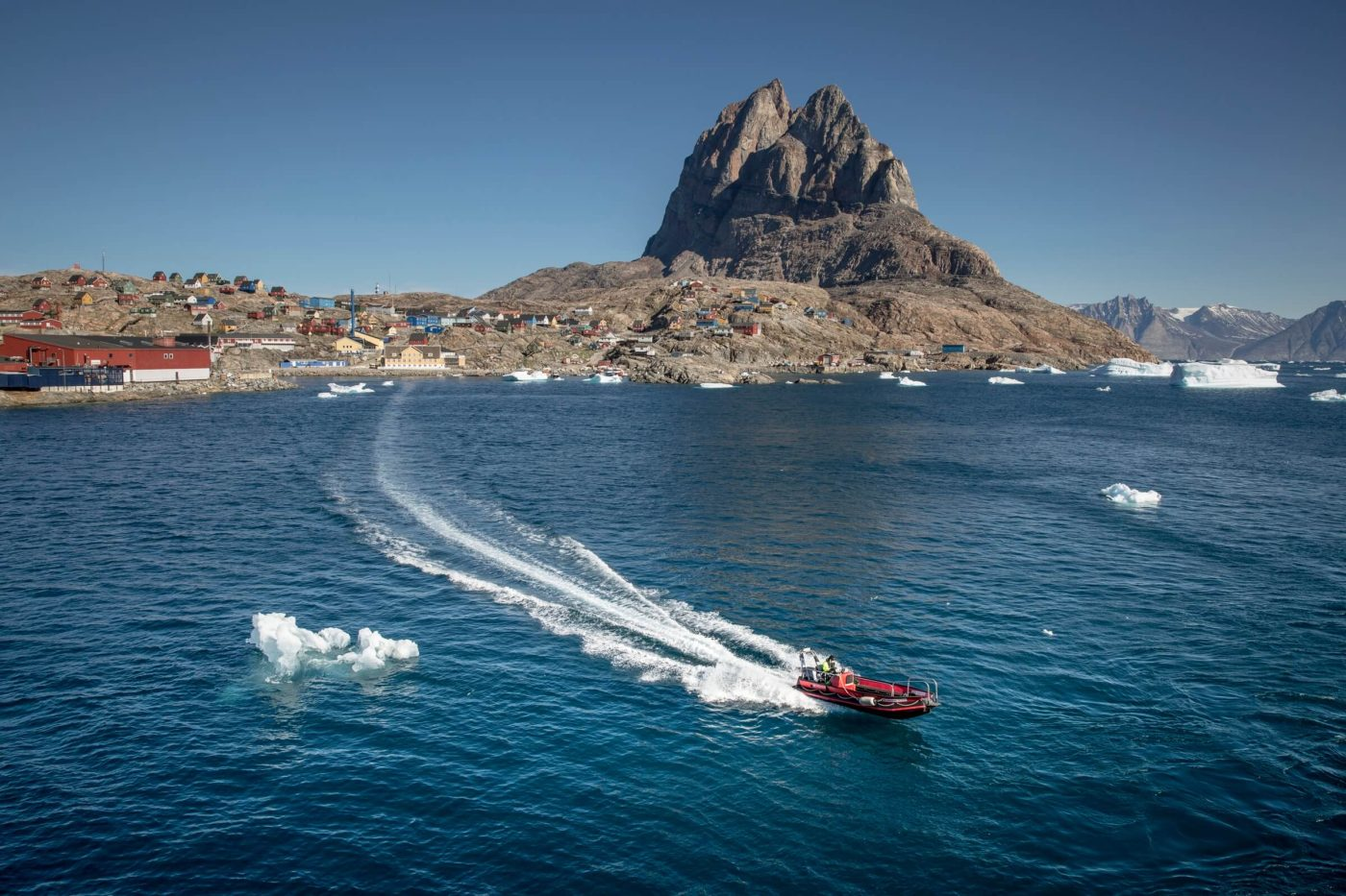 A tender boat between Uummannaq and MS Fram in Greenland. Photo by Mads Pihl, Visit Greenland