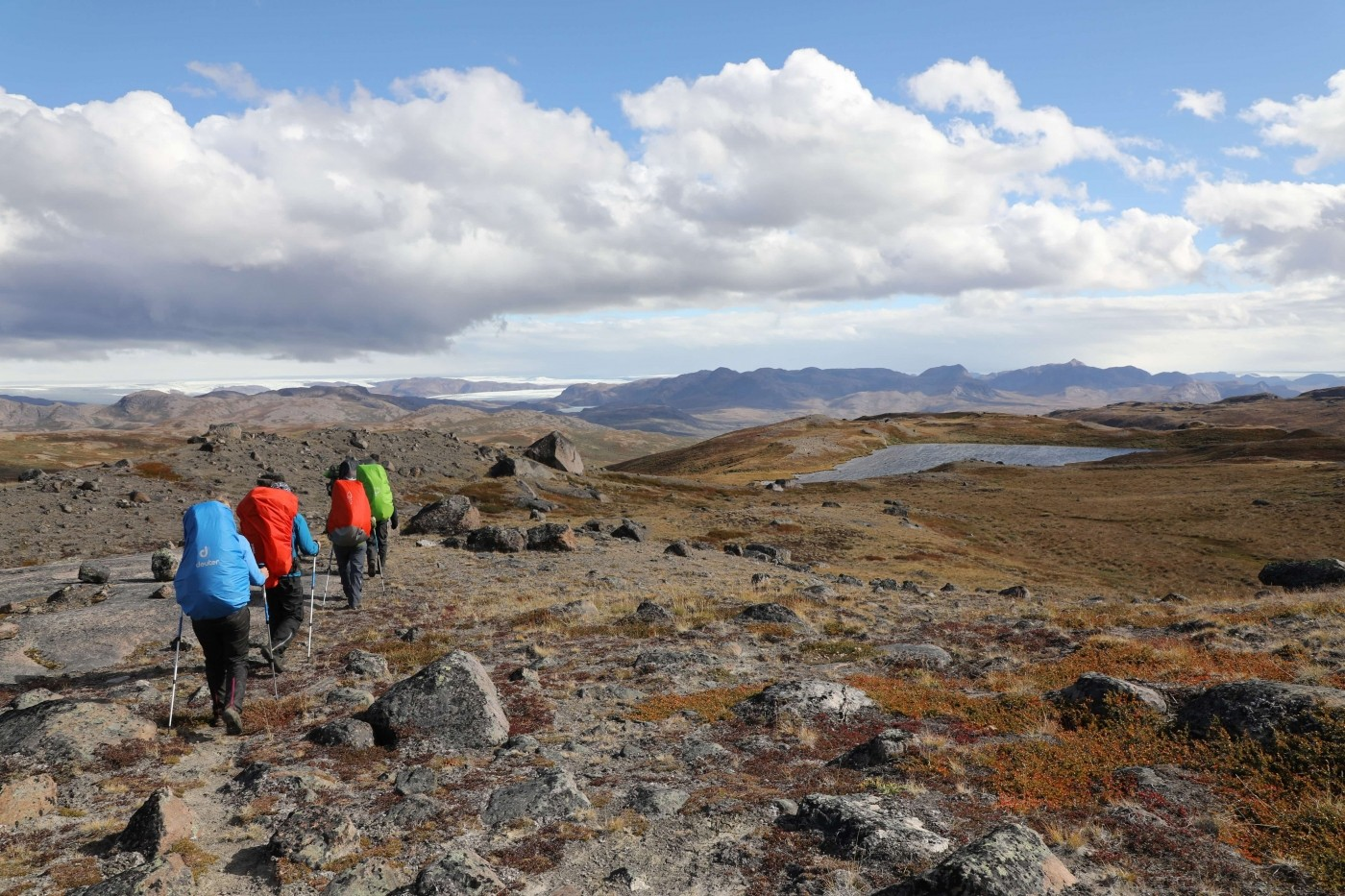 Hikers hiking in Aasivissuit UNESCO area close to Kangerlussuaq in summer. Photo by Morten Christensen