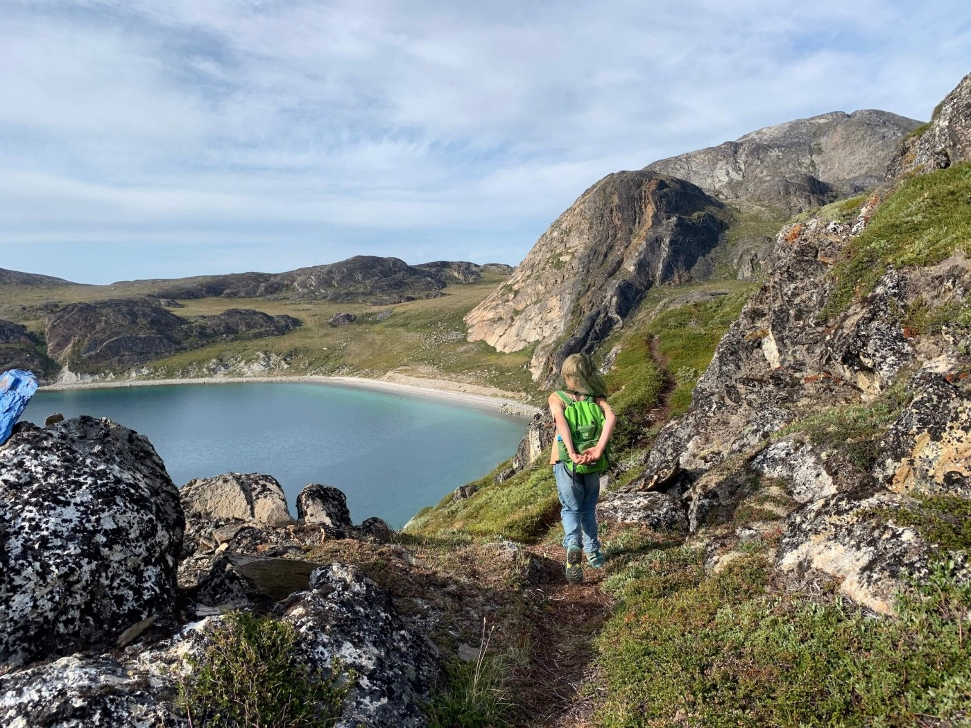 Hiker in the beautiful landscape around Hotel Diskobay. Photo by Espen Andersen, Visit Greenland