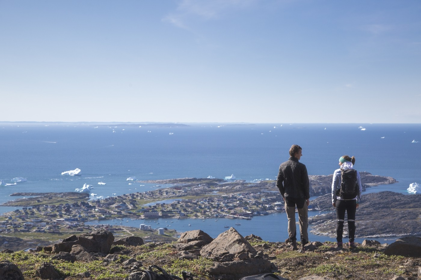 An incredible view from the hike to the top of the Lyngmark Mountain. Photo Henrik Kaarsholm – Hotel Disko Island, Visit Greenland