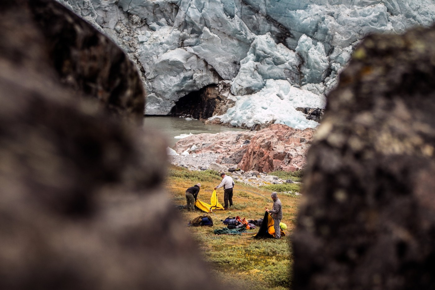 Setting up camp at Russell Glacier near Kangerlussuaq in Greenland. Photo by Mads Pihl - Visit Greenland