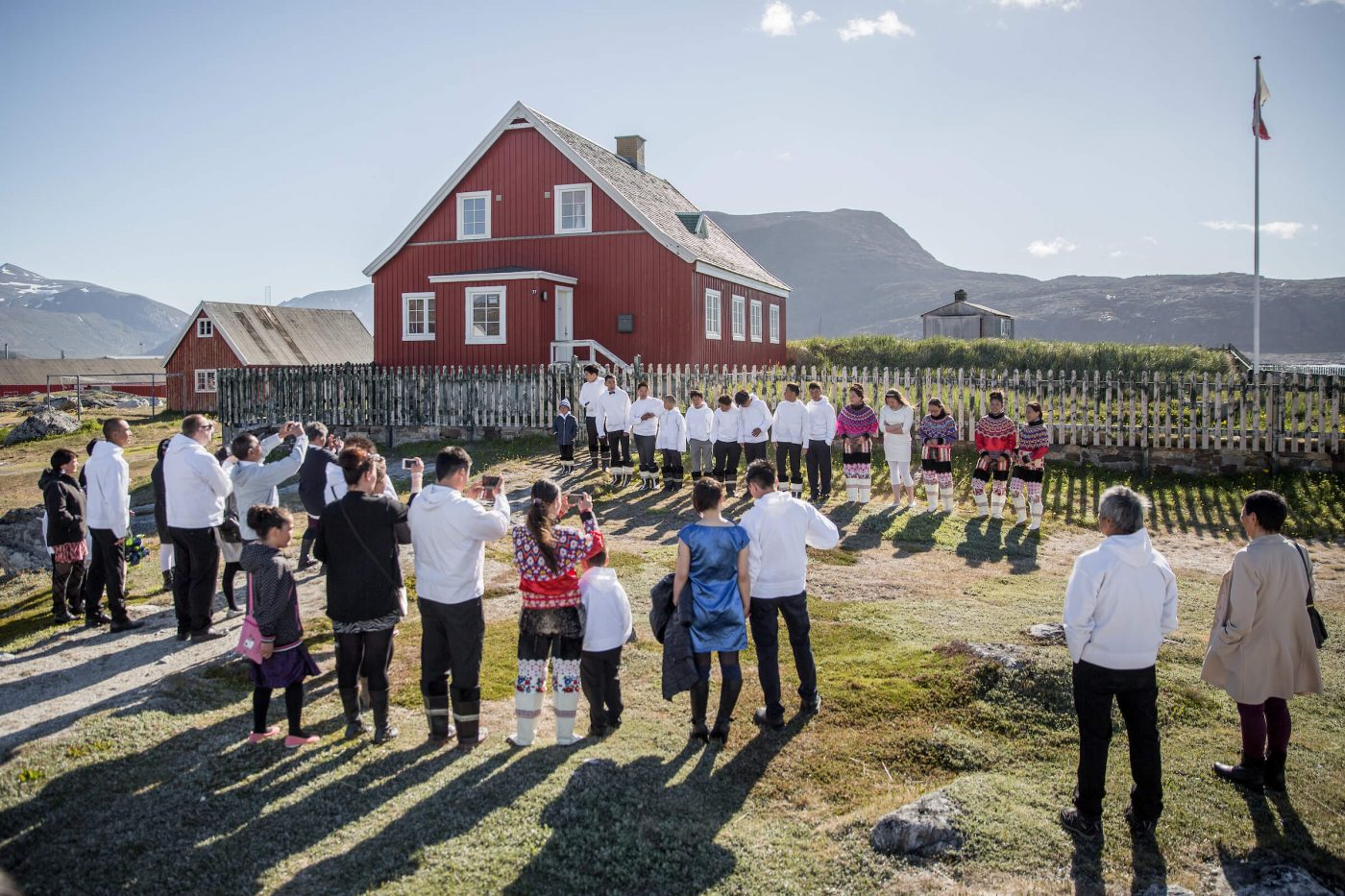 Kids from Nanortalik in South Greenland lining up for their day of Conformation at the church. Photo by Mads Pihl - Visit Greenland