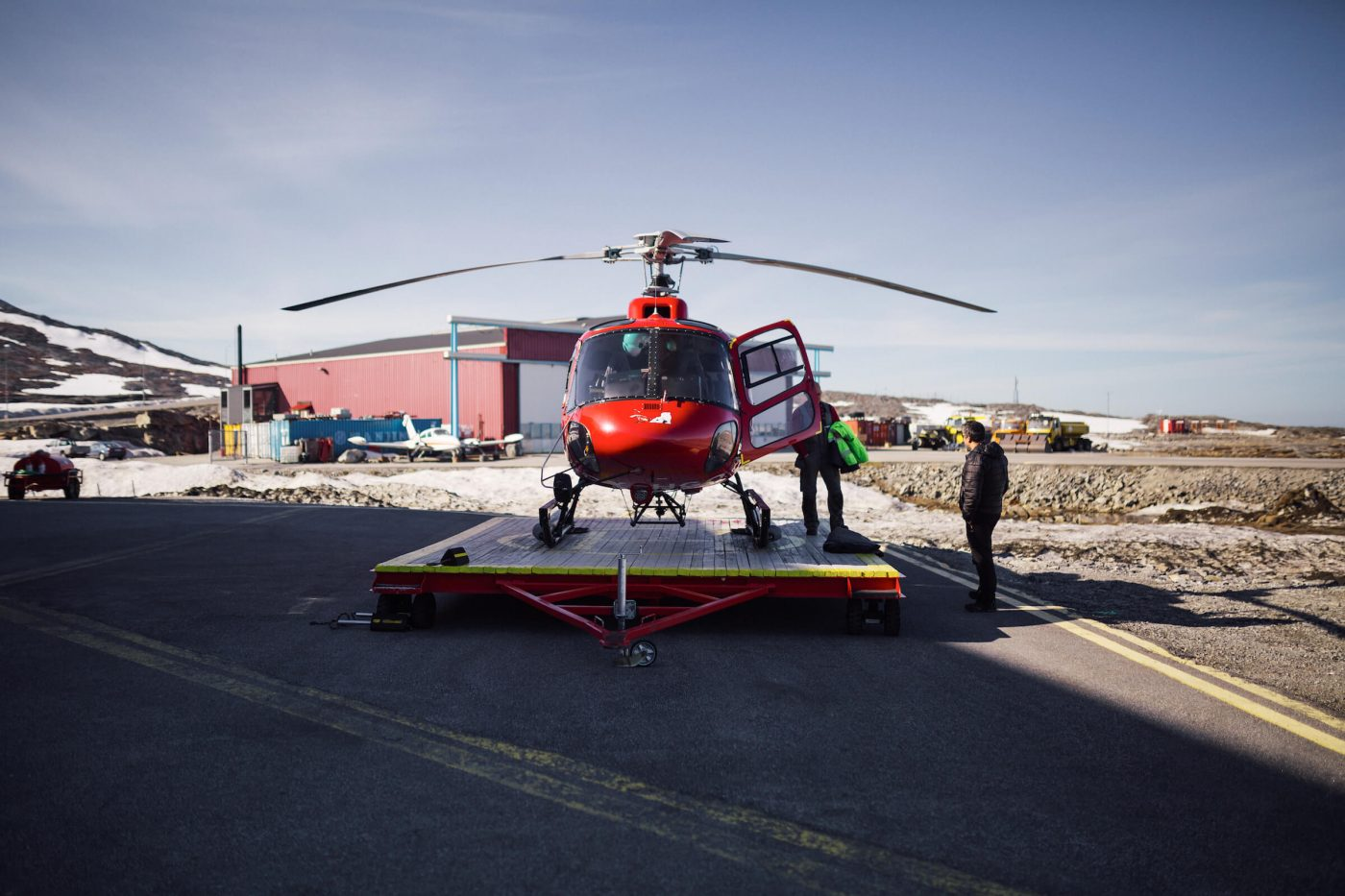 Air Greenland's helicopter gets ready to take off at Nuuk Airport. Photo by Filip Gielda, Visit Greenland
