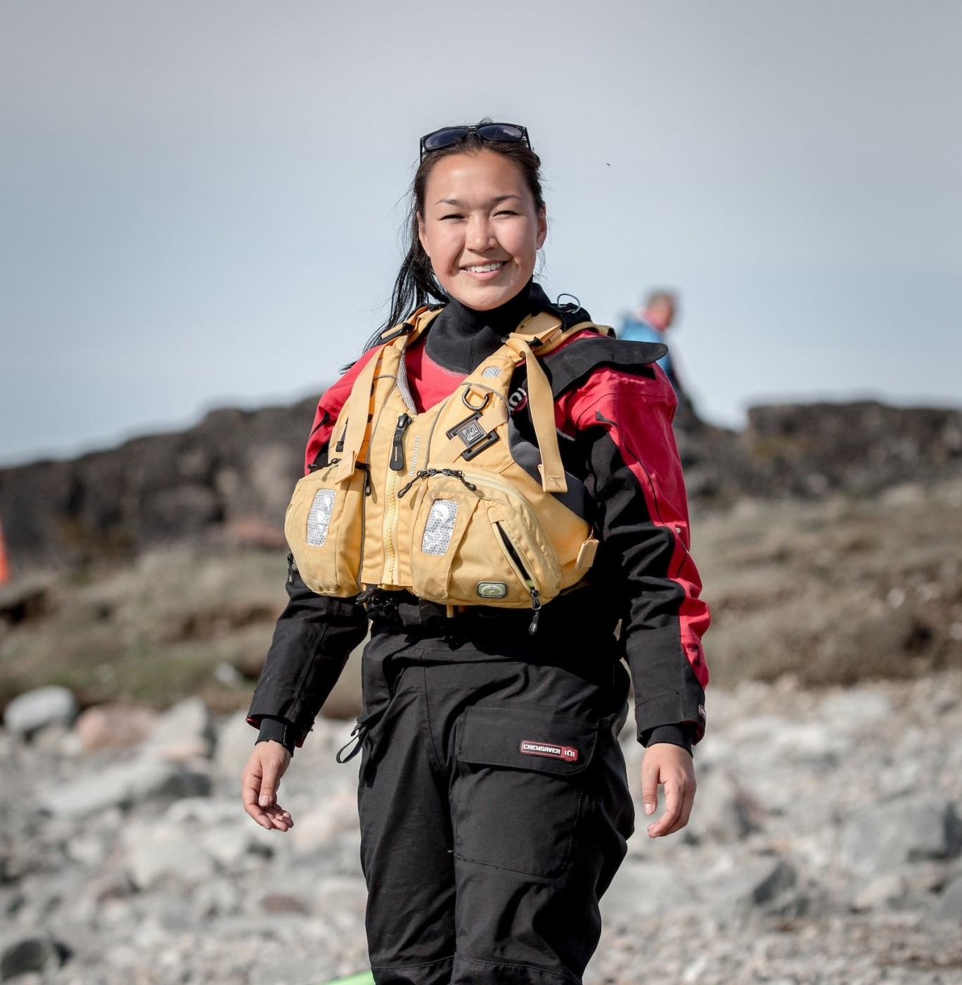 A Greenlandic kayaking guide from MS Fram near Saqqaq in Greenland. Photo by Mads Pihl - Visit Greenland