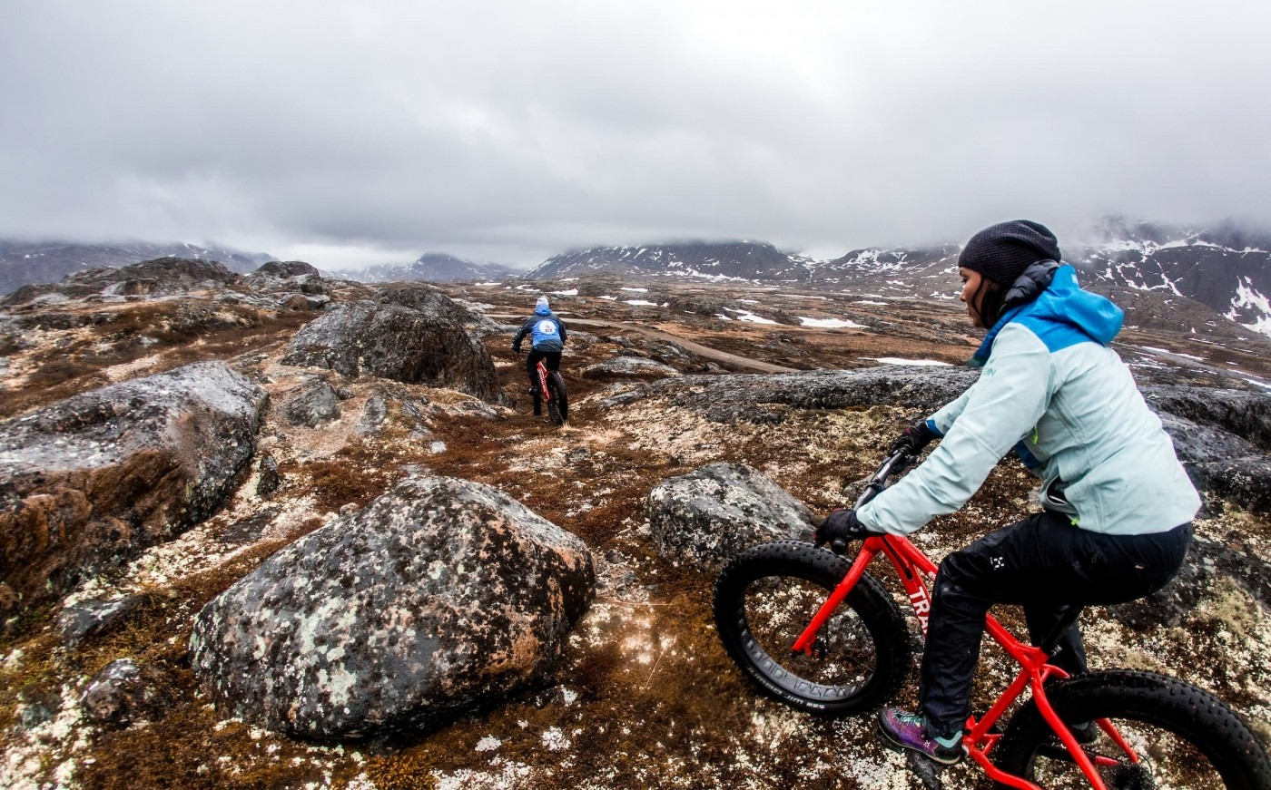 Arctic Fat biking in the Sisimiut backcountry near the Arctic Circle. Photo by Raven Eye Photography - Visit Greenland