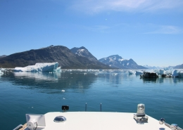 Boat sailing among icebergs in Nuup Kangerlua in summer. Photo by Nuuk Bay Adventues, Visit Greenland