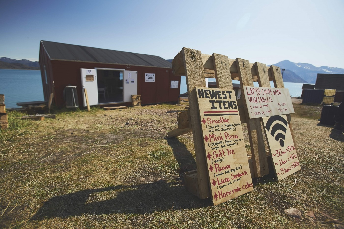 Cafe Thorhildur frontside sign. Photo by Aningaaq Rosing Carlsen - Visit Greenland