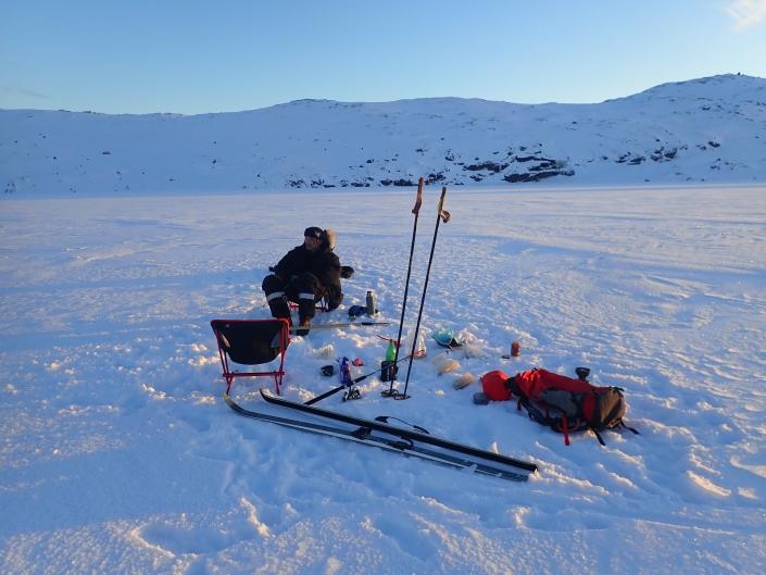 Coffee break on ice sheet. Photo by Greenland Waterways - Visit Greenland