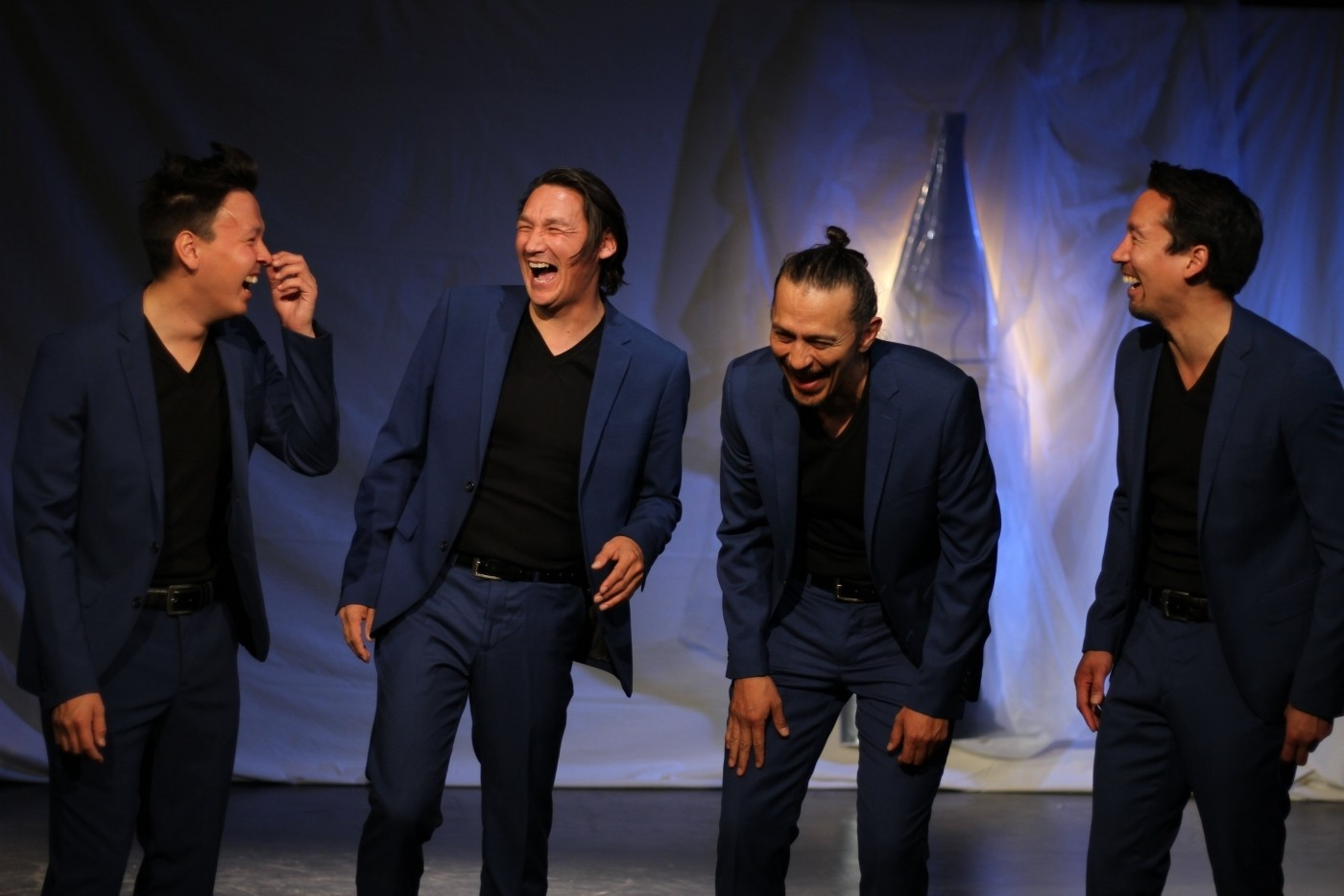 Hans Henrik Suersaq, Klaus Geisler, Kristian Mølgaard and Miki Jacobsen in Angutivik from The National Theatre of Greenland laughing. Photo by Gerth Lyberth, Visit Greenland