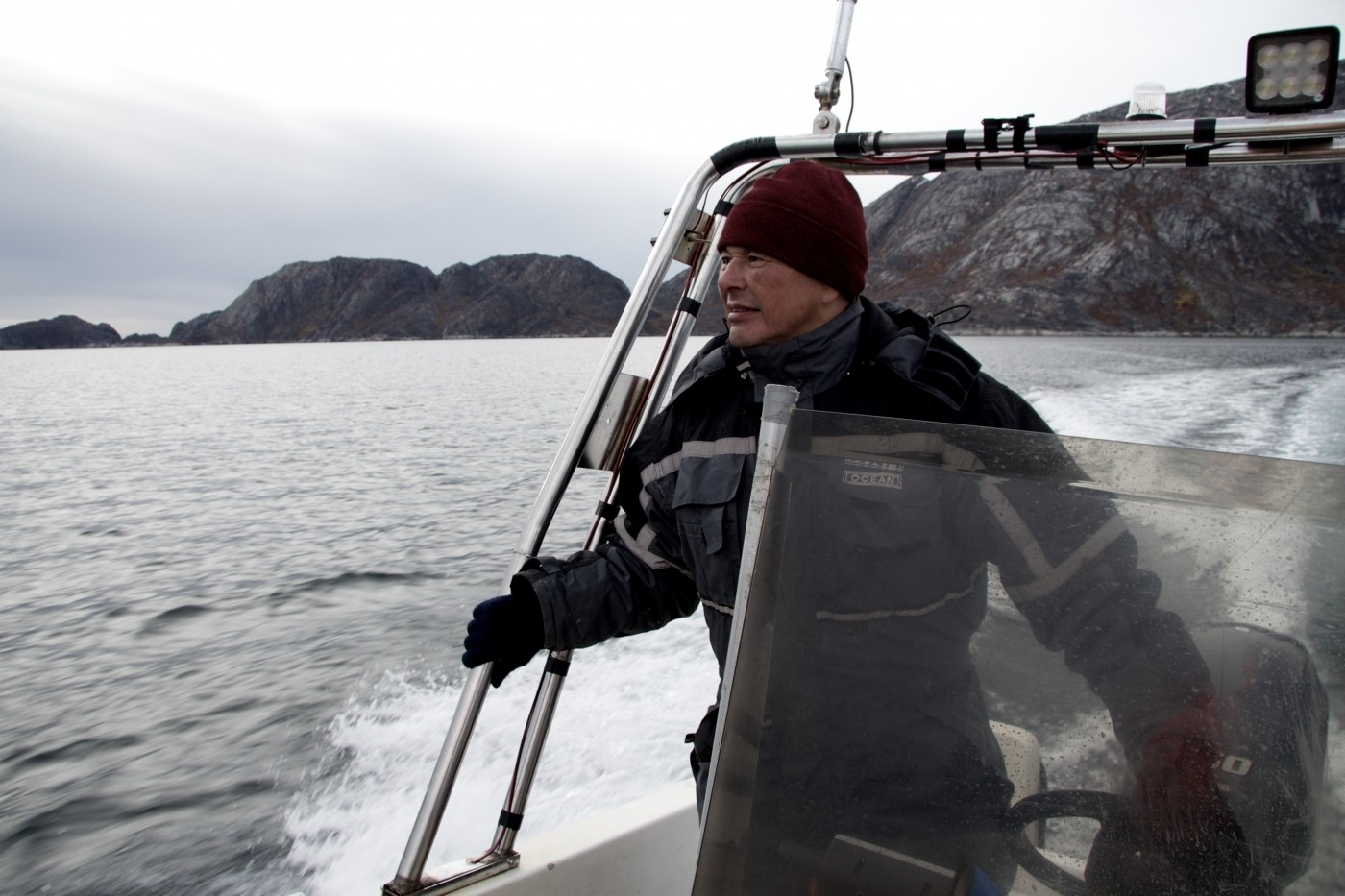 Leif Fontaine sailing a boat. Photo by West Greenland Wildlife - Visit Greenland