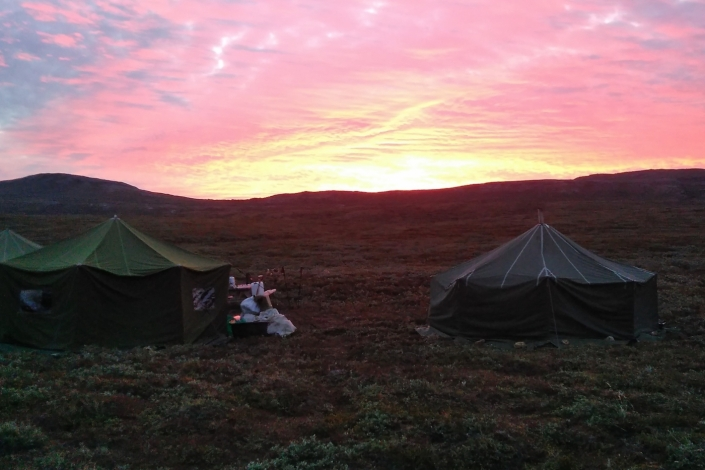 North Safari Travel summer camp with midnight sun behind tents. Photo by North Safari Travel - Visit Greenland