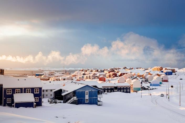 Sunrise over Nuussuaq in Nuuk in Greenland