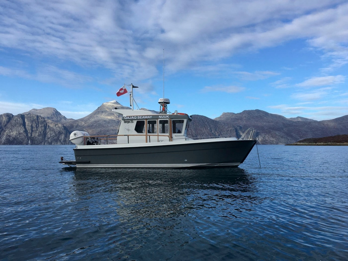 "Qajaq Seaway charter boat ""Arnarulunnguaq"" anchored. Photo by Qajaq Seaway"