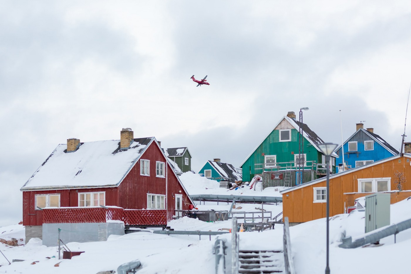 Air Greenland Over Aasiaat Houses. Photo - Filip Gielda, Visit Greenland
