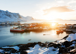 Sunrise over harbour of Nuuk. Photo - Rebecca Gustafsson , Visit Greenland