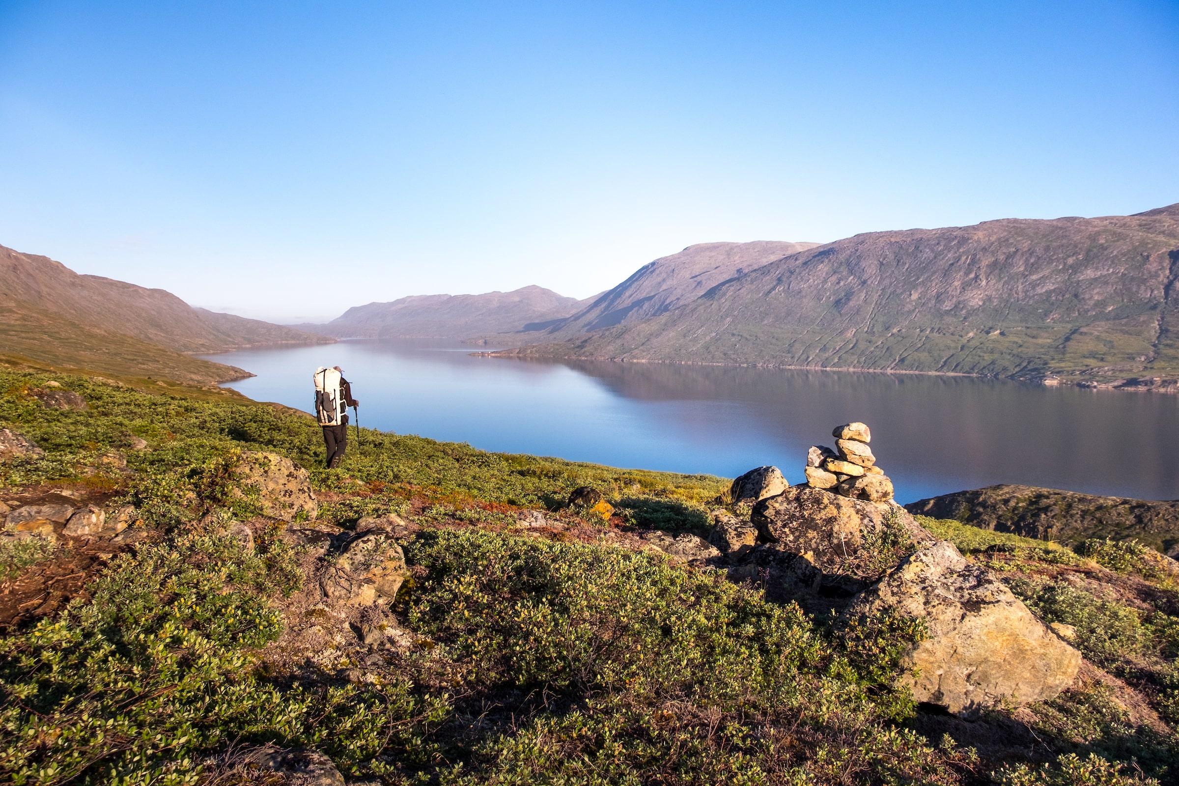 Hiker at Kangerluarsuk Tulleq fjord. Photo - Lisa Germany, Visit Greenland